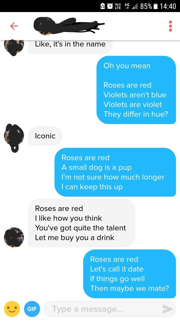Use Of Poetry Helps A Guy Score Score Date On Tinder (3 pics)