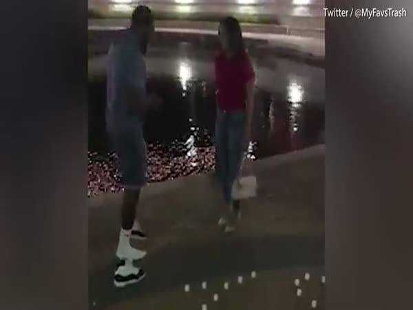 Boyfriend Removes Sneaker Before Proposing To Girlfriend