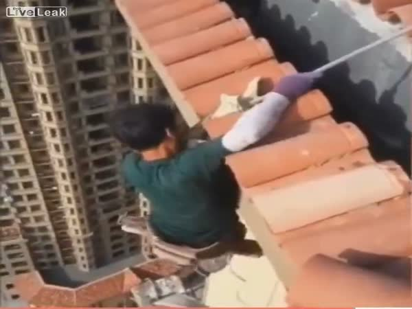 Guy Working at Extreme Heights