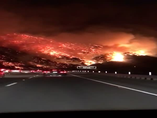 Surreal Wildfire Rips Across Hills of California