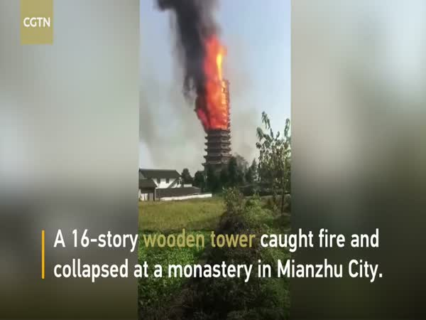 Asia's Tallest Wooden Tower Catches Fire And Collapses