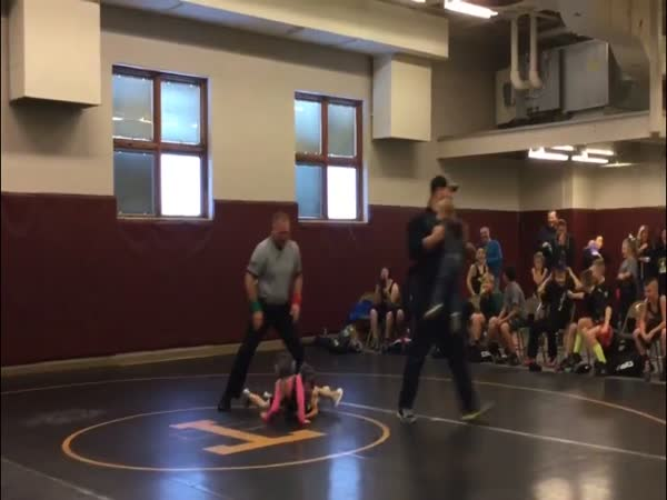 Boy Thinks Sister's Wrestling Match is Real So He Jumps In
