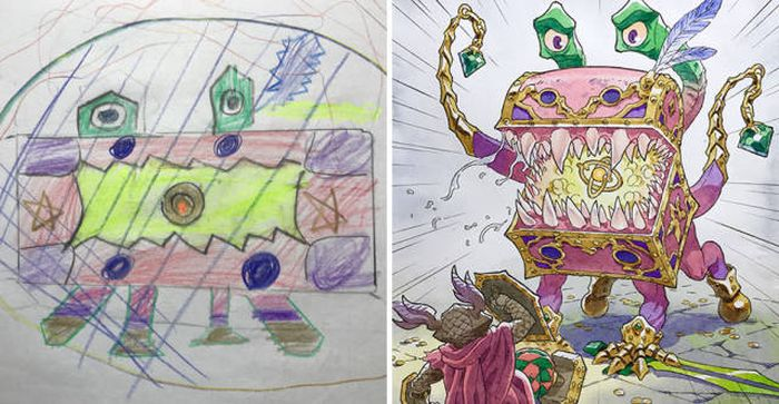 Dad Takes His Ideas For Comics From His Son's Drawings (13 pics)