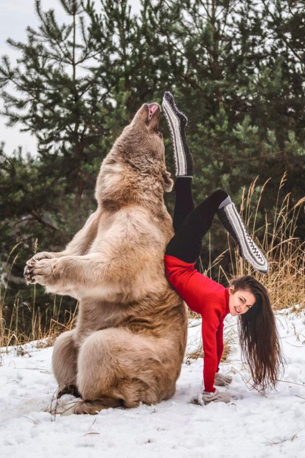 Gymnast Poses With A Brown Bear (5 pics)