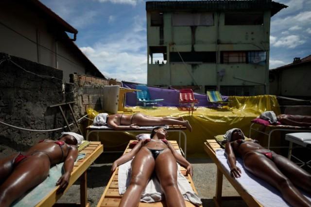 Brazilian Tan In Bikini Made Of Electrical Tape (5 pics)