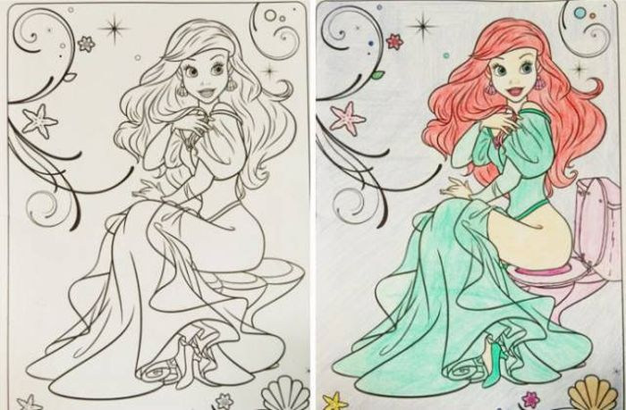 Coloring Books For Kids Colored By Adults (23 pics)