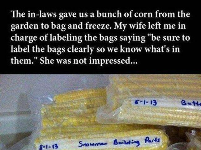 How To Label The Bags With Corn (2 pics)