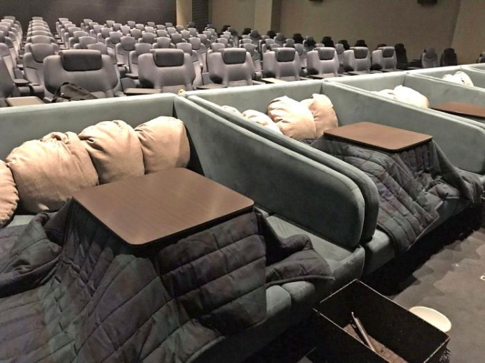 Japanese Movie Theater Keeps Patrons Warm and Toasty With Heated 'Kotatsu' Tables (2 pics)