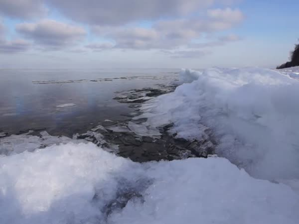 Ice Pushed by The Wind on Utah Lake Towards The Shore