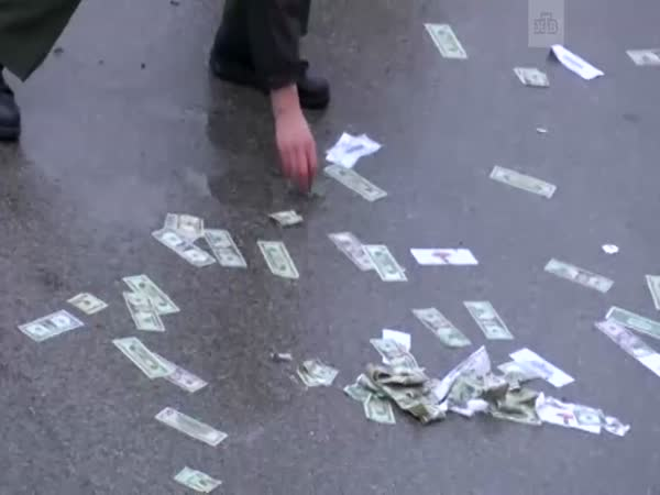A Truck Full of Money Crashed Into a Car, Covering a Road With Cash