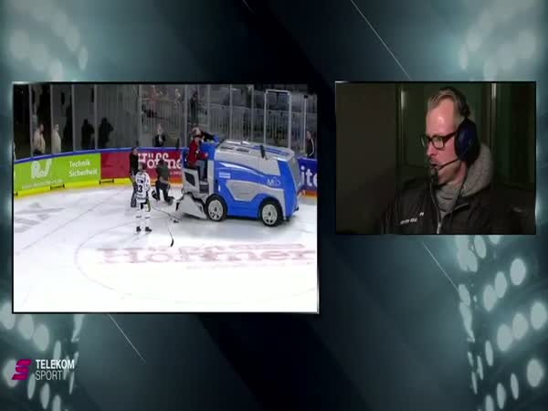 Hockey Player Almost Ran Over By Zamboni While Giving On-Ice Interview