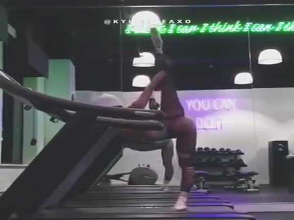 Girl Doing Ballet on a Moving Treadmill