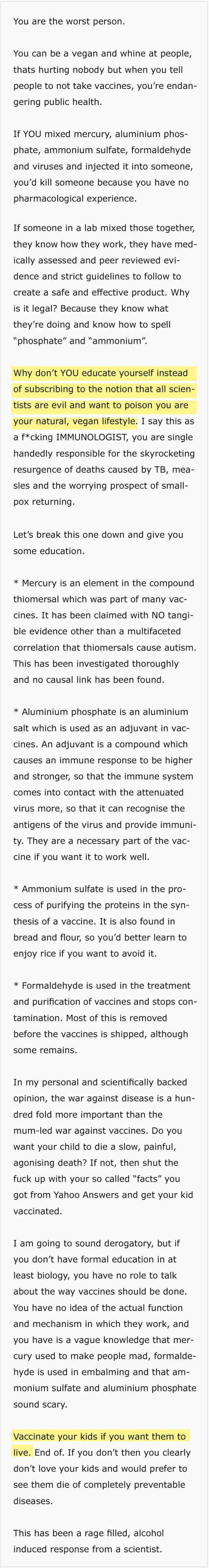 Immunologist Shuts Down An Avid Anti-Vaxxer (2 pics)