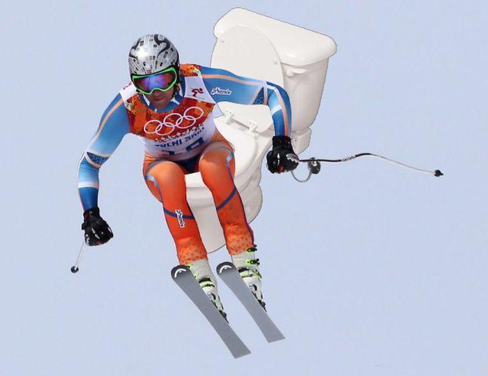 Olympic Skiers Photoshopped Onto Toilets (15 pics)