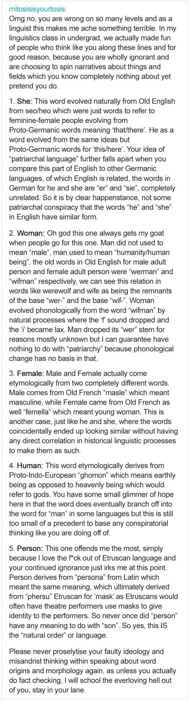Woman Tried To Attack English Language For Being Sexist, Got Schooled By A Real Linguist (2 pics)