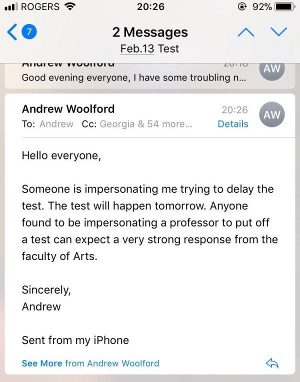 College Student Fakes Teacher's Email To Avoid Test (4 pics)