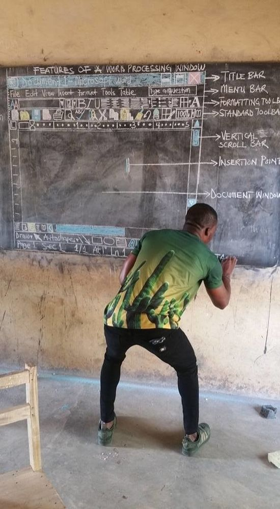 A Teacher Explains Windows OS In An African Village With No PCs (3 pics)