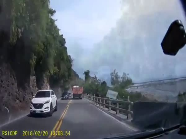 Massive Stone Hits and Almost Crushes Car
