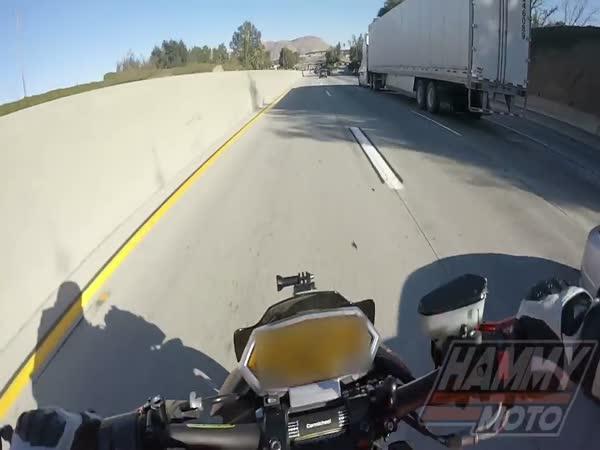 Intense Crash: Biker vs Semi Truck