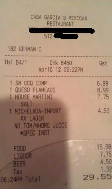 funny receipt notes  14 pics