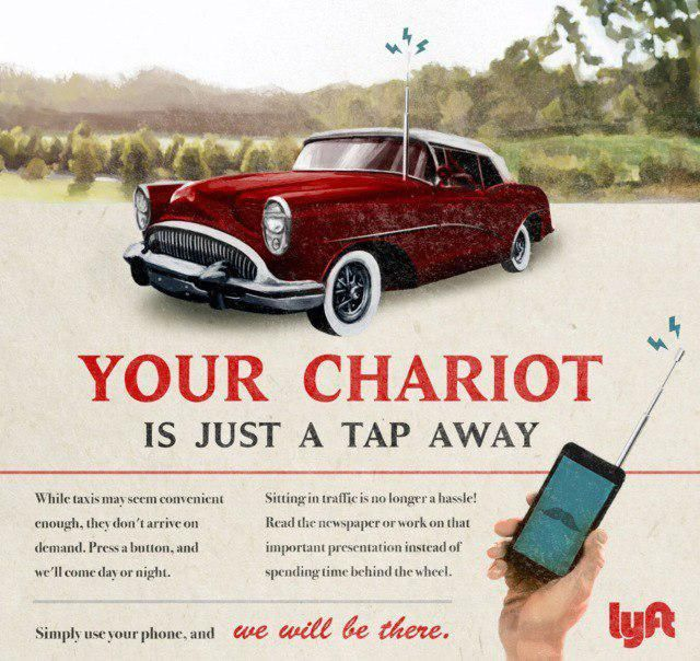 How Would The Advertisement Of Tesla, Spotify, Lyft, Airbnb And Snapchat Look Like In The 1950s (5 pics)