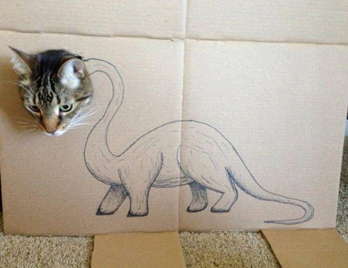 Pet Cardboard Box Dinosaurification (18 pics)