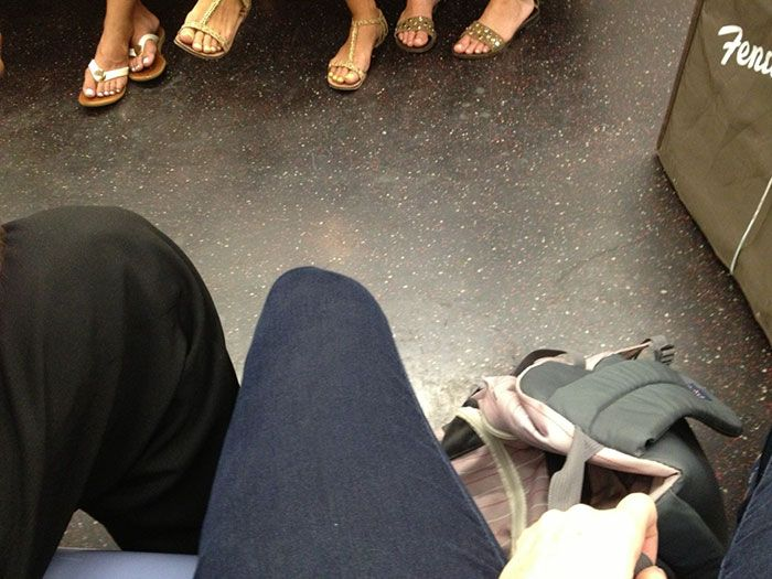 Woman Sick Of Men Spreading Legs In Subway Gets Revenge (6 pics)