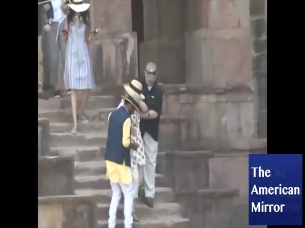 Hillary Clinton Slips Two Times Walking Down Stairs In India
