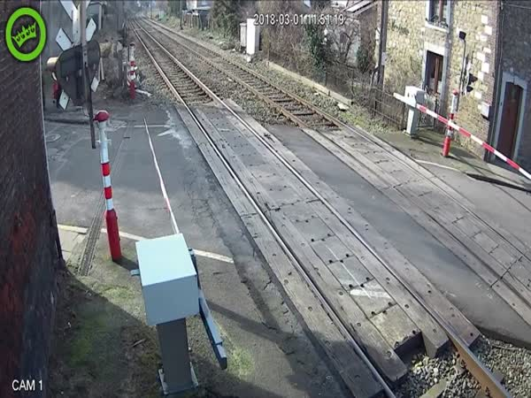 Man Almost Gets Hit by a Train