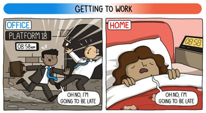 Working At Home Vs Working At The Office (8 pics)