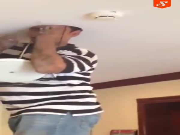 Hapless Electrician Gets Head Stuck in Ceiling