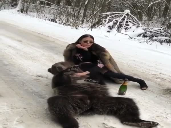 Russian Model Poses Next To Bear