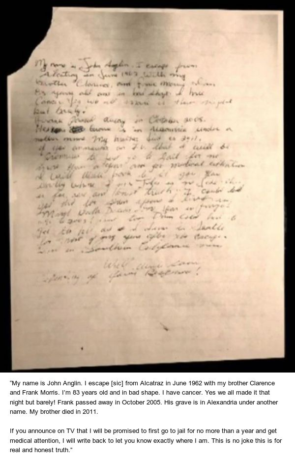Man Who Escaped Alcatraz Sends FBI Letter 50 Years Later (2 pics)