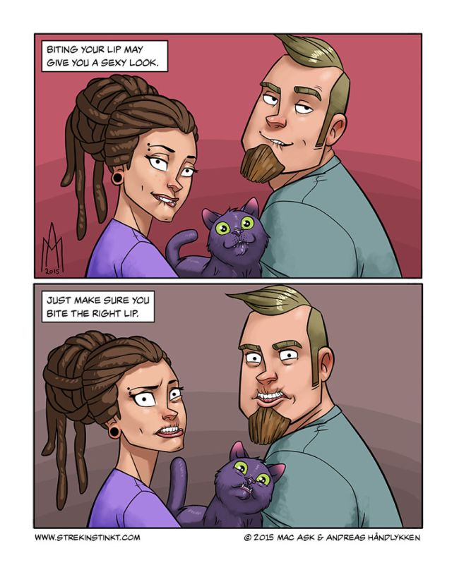 A Married Couple Illustrate Their Everyday Problems With A Surreal Twist (17 pics)