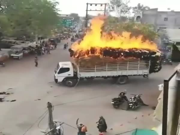 Fodder Truck Catches Fire in India