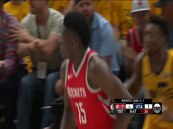 Donovan Mitchell Clears Clint Capela In Effort To Block Shot In Game 4