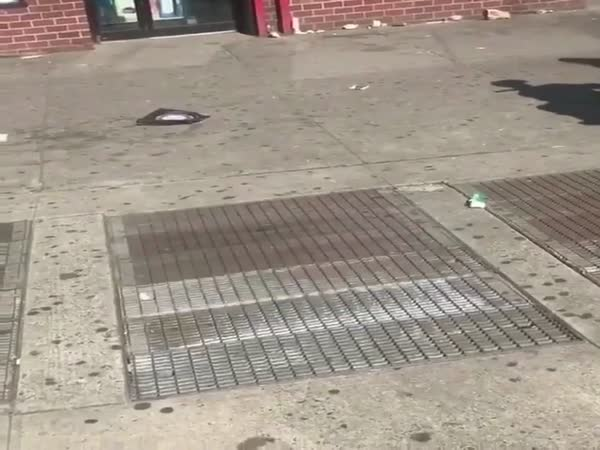 Homeless Man Disappears Into A Street Vent In NYC