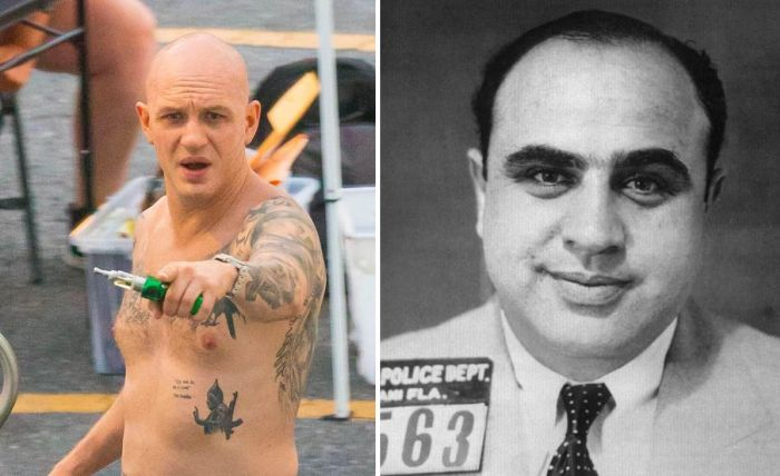 Shaven-headed Tom Hardy On Set Of New Movie Where He Plays Al Capone (5 pics)