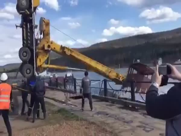 Crane Putting Boat In Water Fail