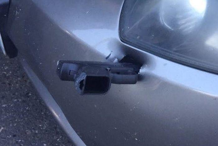 Flying Gun Hits A Car On I-5 (3 pics)