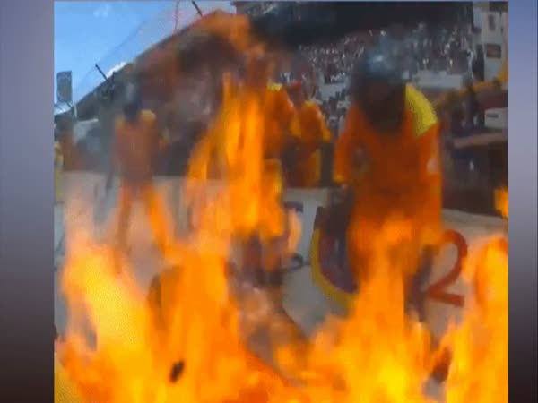Indy 500 Car Bursts Into Flames During Pit Stop