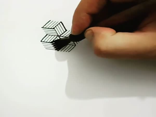 Guy Draws Cubes Freehand Using A Forked Steel Nib