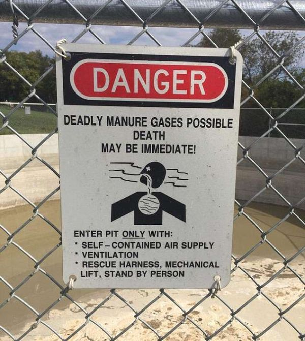 'Deadly manure gases possible!' Tourists share the VERY alarming road signs they've spotted around the world (and they might be enough to put you off your next adventure) (10 pics)