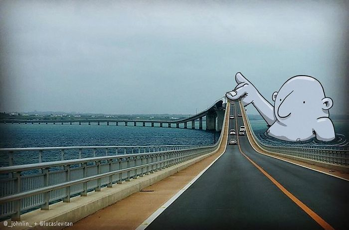 Artist Invades Instagram Photographs With Funny Illustrations (25 pics)