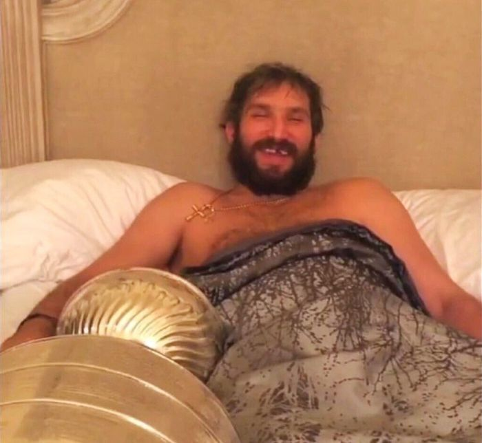 Ovechkin In Bed With the Stanley Cup (3 pics)