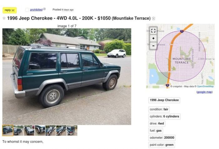 Cool Craigslist Ad For 96 Jeep 'Range Rover' Cherokee (8 pics)