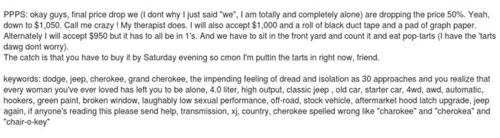 Cool Craigslist Ad For 96 Jeep 'Range Rover' Cherokee (8 pics)