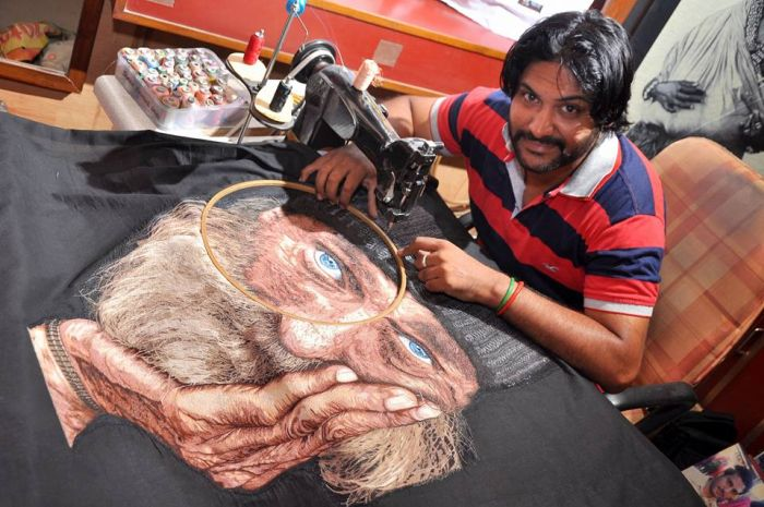 """""""Needle Man"""" Is The World's Only Sewing Machine Painter (6 pics)"""