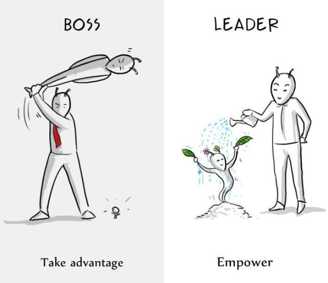Difference Between A Boss And A Leader (8 pics)