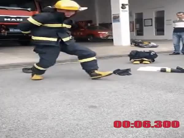Chinese Fireman Getting Dressed